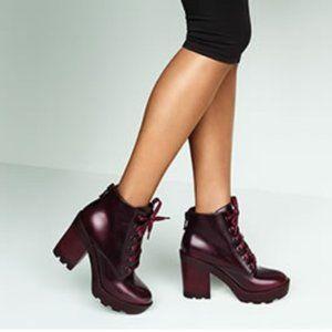 Aldo Burgundy Serinna Boot Chunky Heel